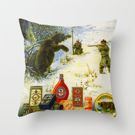 Vintage Russian Gunpowder Advertisement Throw Pillow