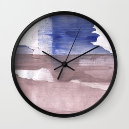 Beige Blue abstract watercolor texture Wall Clock
