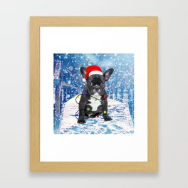 French Bulldog Holidays Christmas Snow Framed Art Print
