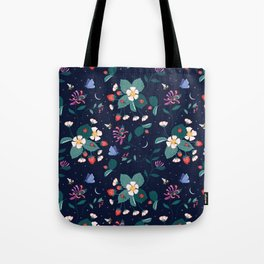 Midnight Strawberry Patch Pattern Tote Bag