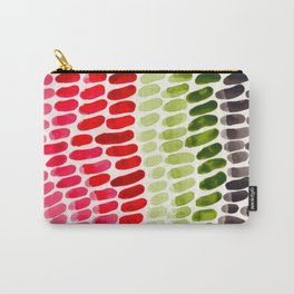 Colorful Rainbow Aquatic Watercolor Pattern Fish Scales Pattern Cactus Green Watermelon Red Carry-All Pouch