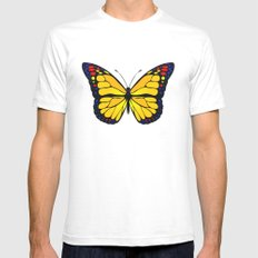 Yellow butterfly White Mens Fitted Tee SMALL