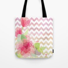 Chevron Flowers Tote Bag