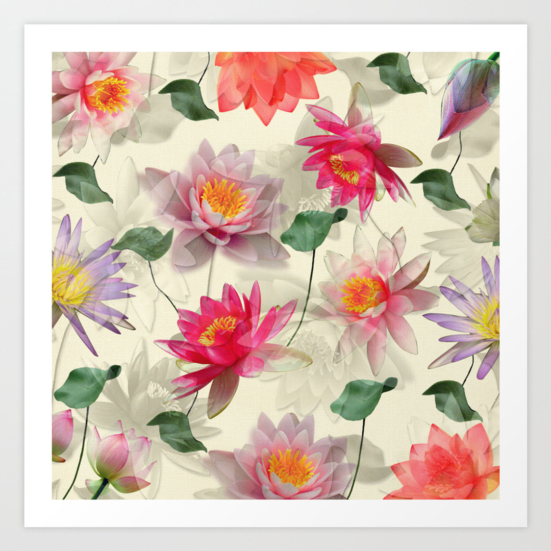 Blue collage floral and flower art prints page 100 of 100 society6 izmirmasajfo