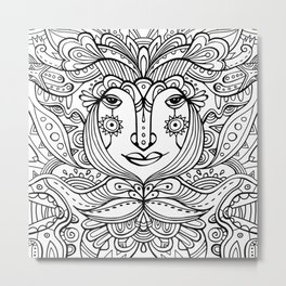 Flower fairy / Black and white Metal Print