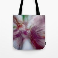 tye dye Tote Bags featuring Tie-Dye (abstract created from blooming redbuds) by Scott Hervieux