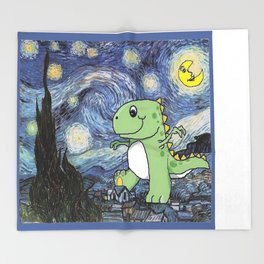 Tyrannosaurus Rex Under the Starry Night Sky Throw Blanket