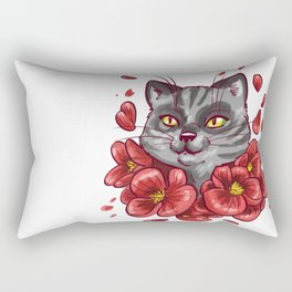 Flowers cat Rectangular Pillow