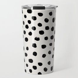 Preppy brushstroke free polka dots black and white spots dots dalmation animal spots design minimal Travel Mug