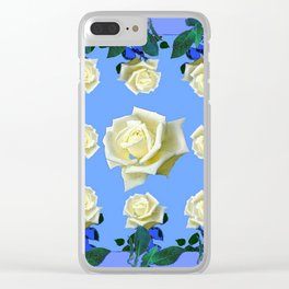 WHITE ROSES BLUE GREEN GARDEN DESIGN PATTERN Clear iPhone Case