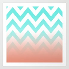 TEA CHEVRON CORAL FADE Art Print