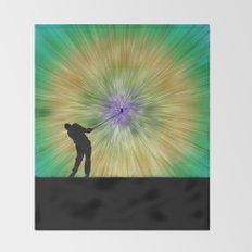 Green Tie Dye Golfer Silhouette Throw Blanket