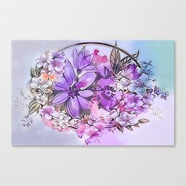 Painterly Violet Floral Abstract Canvas Print