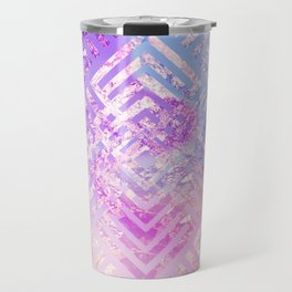 Holographic Glam - Geometric Pattern on Holo Effect Background Travel Mug
