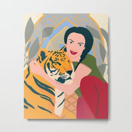 a girl with a tiger Metal Print