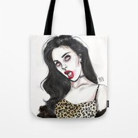 charli xcx Tote Bags featuring Charli by Lucas David