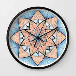 Sapphire-Gold Mandala (on white) Wall Clock