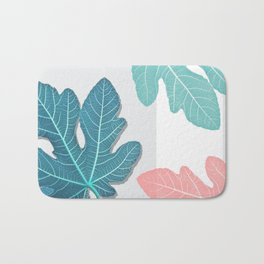 Colored Fig Tree Leaves Bath Mat