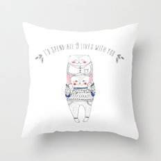nine lives cat Throw Pillow