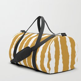Macramé Stripes Minimalist Pattern in White and Mustard Gold Duffle Bag