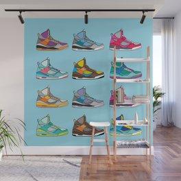 Colorful Sneaker set illustration blue illustration original pop art graphic print Wall Mural