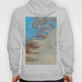 Fluid Art Acrylic Painting, Pour 27, Brown, Tan & Blue Blended Color Hoody