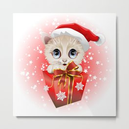 Kitten Christmas Santa with Big Red Gift Metal Print