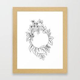 White Floral Circle Framed Art Print