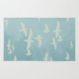 Birds on Blue - flying seagulls Rug