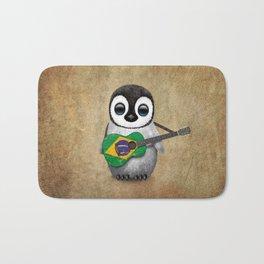 Baby Penguin Playing Brazilian Flag Acoustic Guitar Bath Mat