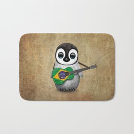 Baby Penguin Playing Brazilian Flag Acoustic Guitar Bath Mat