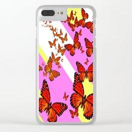 Sun Light Beams Butterflies Migrating Pink-yellow Clear iPhone Case