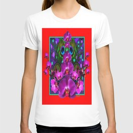 Decorative  Red Tropical Fuchsia Orchids Purple-Green Art T-shirt