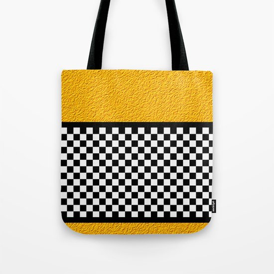 Checkered/Textured Gold Tote Bag