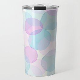 Watercolor circles pink and blue Travel Mug
