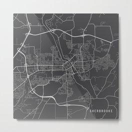 Sherbrooke Map, Canada - Gray Metal Print