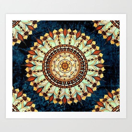 Sketched Mandala Design On A Blue Textured Background Art Print