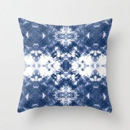 Shibori Tie Dye 4 Indigo Blue Throw Pillow