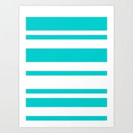 Mixed Horizontal Stripes - White and Cyan Art Print
