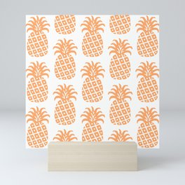 Retro Mid Century Modern Pineapple Pattern 731 Orange Mini Art Print