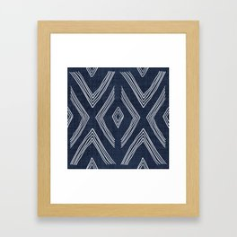 Birch in Navy Blue Framed Art Print