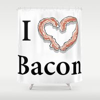 bacon Shower Curtains featuring I -bacon- Bacon by Beatrice