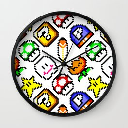 Super Mar!o Bros. 3 items || funny retrogaming pattern Wall Clock