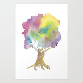 Dreaming tree - watercolor and ink whimsical illustration Art Print
