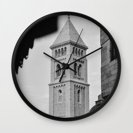 A small tower in the old city of Jerusalem, Israel | Black and white photography | Fine art print Wall Clock