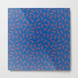 Lobster Pattern on Cobalt Blue Metal Print