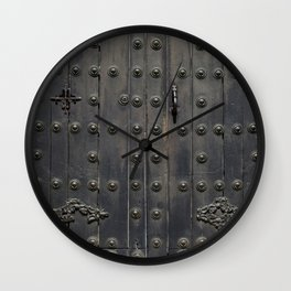 Old Black Door Wall Clock