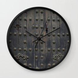 Old Black Door Wall Clock