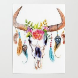 Floral and Feathers Adorned Bull Skull Poster
