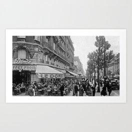 Le Dome Cafe, Paris - Hemingway's Favorite Haunt black and white photograph Art Print